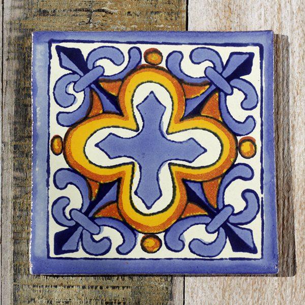 mexican tile flor de liz azul