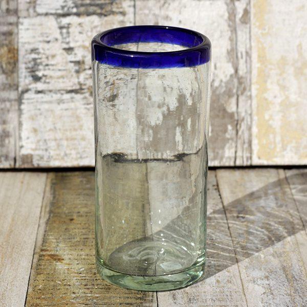 recycled glass blue rim highball