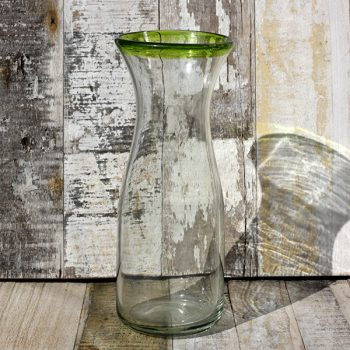 recycled glass carafe green rim