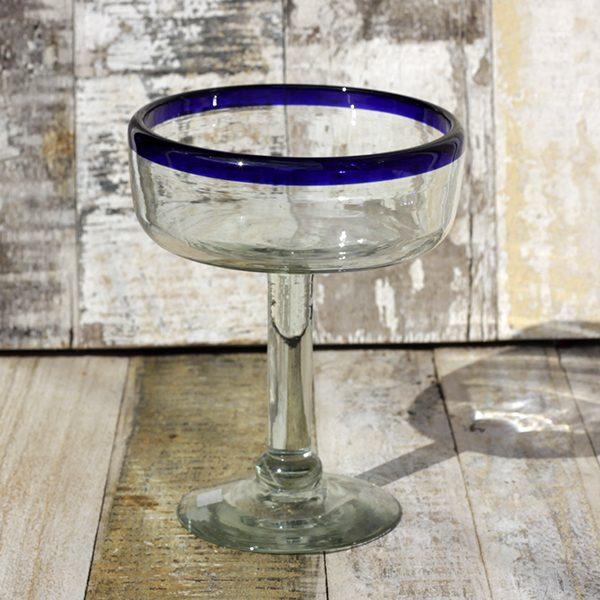 recycled glass margarita blue rim