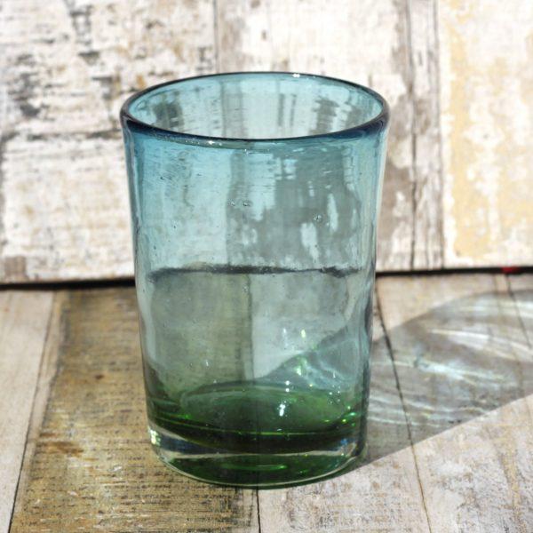 recycled glass tumbler aqua green