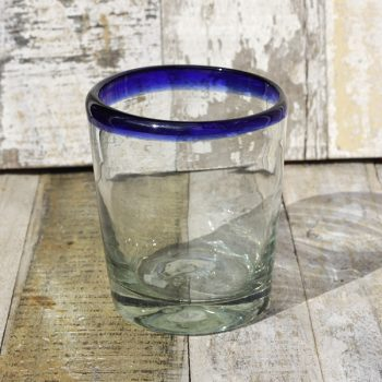 recycled glass tumbler conico blue rim