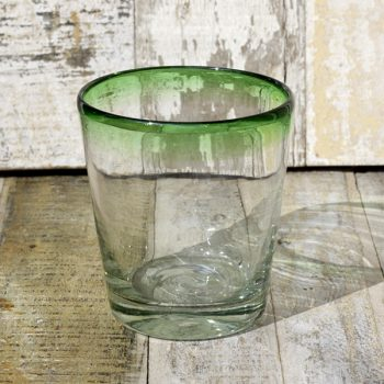 recycled glass tumbler conico green rim