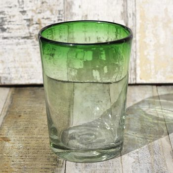 recycled glass tumbler green clear