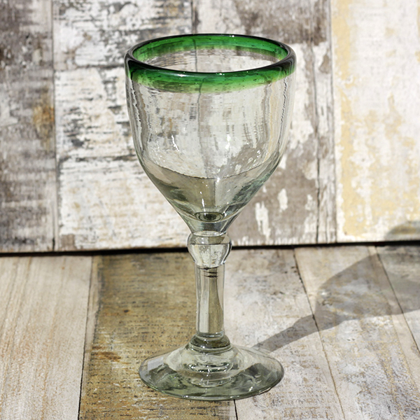 recycled wine glass green rim