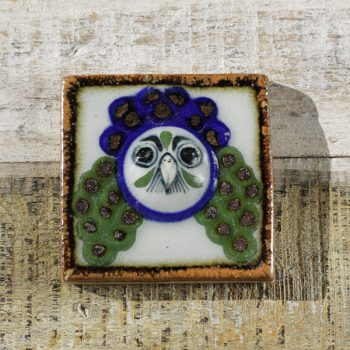 stoneware tile small owl wings