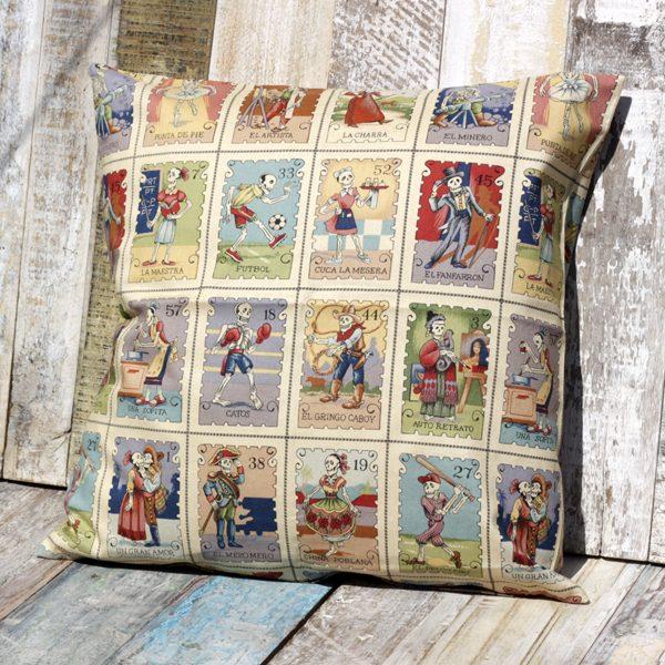 cushion cartas mercadas sepia caoba
