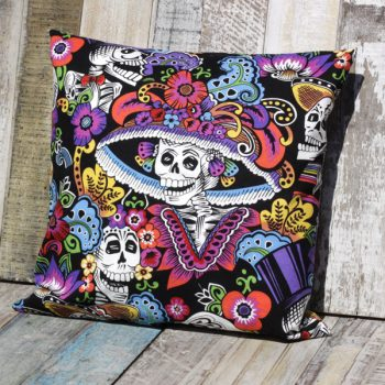 cushion dia de la catrina black caoba