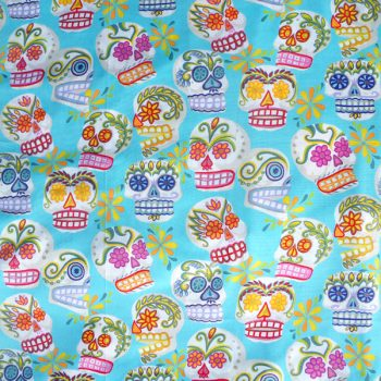 caoba-fabric-sugar-skull-blue