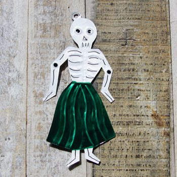 caoba tin skeleton lady green
