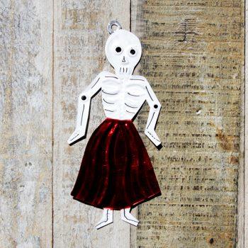 caoba tin skeleton lady red