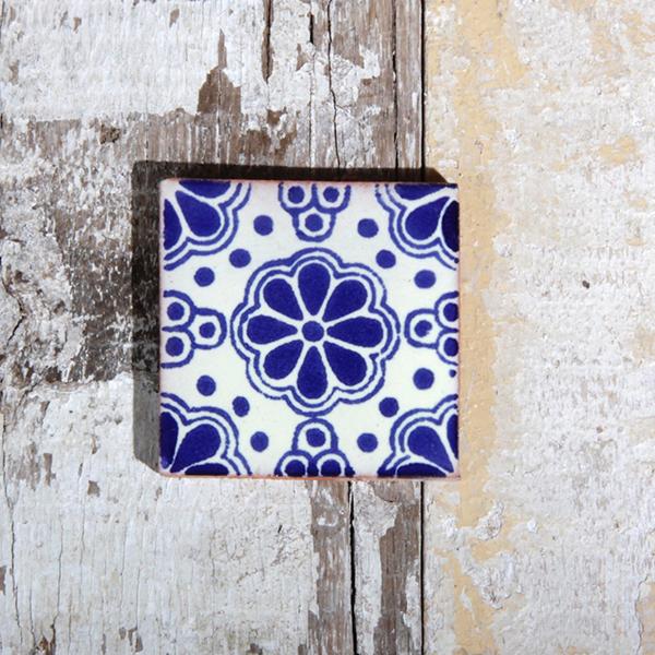 caoba tile small lace azul