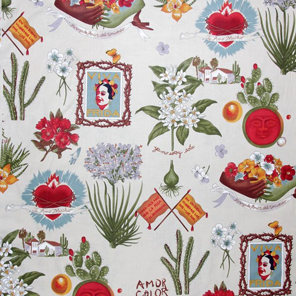 fabric viva frida cream caoba