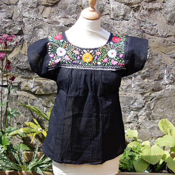 059352aa7c5cf3 Home   Mexican Clothing   Mexican Blouse Black with White Thread orange  flower S