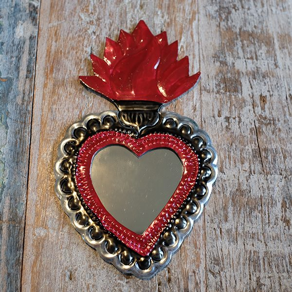 Mexican Tin Heart Mirror Caoba